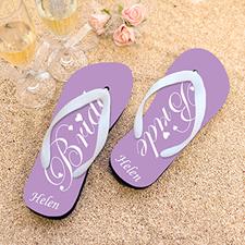 Lavender Bride Personalized Wedding Flip Flops, Women Medium