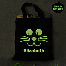 Cat Personalized Halloween Glow In The Dark Treat Bag