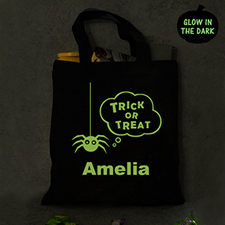 Halloween Personalized Trick Or Treat Glow In The Dark Tote Bag