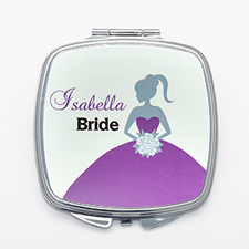 Personalized Compact Mirror For Bridesmaids Purple