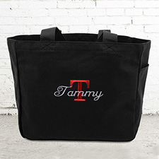 Name & Initial #1 Personalized Black Tote Bag