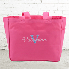 Name & Initial #1 Personalized Hot Pink Tote Bag