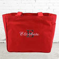 Name & Initial #1 Personalized Red Tote Bag
