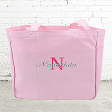Name & Initial #1 Personalized Pink Tote Bag