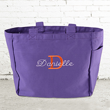 Name & Initial #1 Personalized Purple Tote Bag