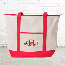 Name & Initial #1 Personalized Red Canvas Tote Bag (Large)