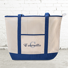 Name & Initial #1 Personalized Navy Canvas Tote Bag (Large)