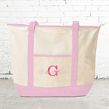 Name & Initial #1 Personalized Pink Canvas Tote Bag (Large)