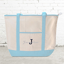 Name & Initial #1 Personalized Light Blue Canvas Tote Bag (Large)