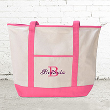 Name & Initial #1 Personalized Hot Pink Canvas Tote Bag (Large)