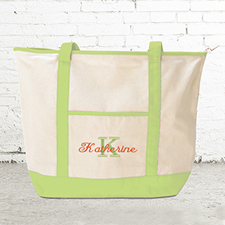 Name & Initial #1 Personalized Lime Green Canvas Tote Bag (Large)