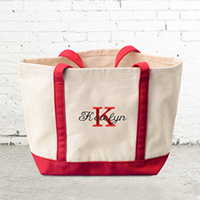 Name & Initial #1 Personalized Red Canvas Tote Bag (Small)