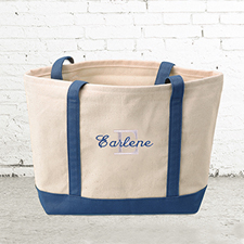 Name & Initial #1 Personalized Navy Canvas Tote Bag (Small)
