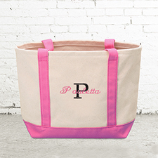 Name & Initial #1 Personalized Hot Pink Canvas Tote Bag (Small)