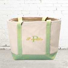 Name & Initial #1 Personalized Lime Green Canvas Tote Bag (Small)