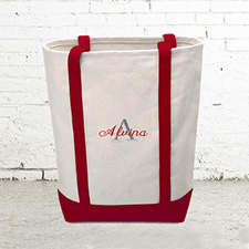 Name & Initial #1 Personalized Red Canvas Tote Bag (Medium)