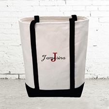 Name & Initial #1 Personalized Black Canvas Tote Bag (Medium)