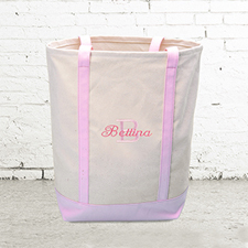Name & Initial #1 Personalized Pink Canvas Tote Bag (Medium)