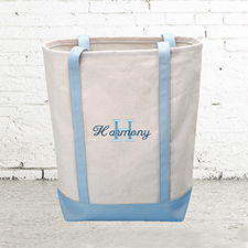 Name & Initial #1 Personalized Light Blue Canvas Tote Bag (Medium)