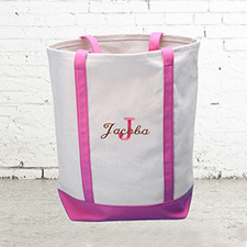 Name & Initial #1 Personalized Hot Pink Canvas Tote Bag (Medium)