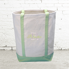 Name & Initial #1 Personalized Lime Green Canvas Tote Bag (Medium)