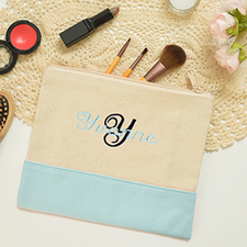 Name&Initial #7 Personalized Light Blue Cosmetic Pouch