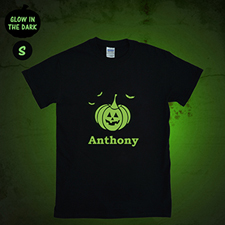 Pumpkin Personalized Glow In The Dark Halloween T Shirt, Adult Small