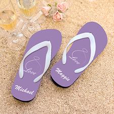Infinity Love Lavender Personalized Flip Flops, Women Medium