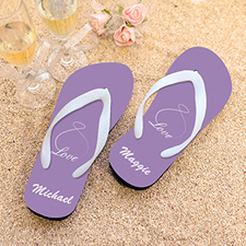 Infinity Love Lavender Personalized Flip Flops, Kids Medium