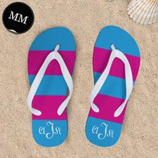 Pink Blue Stripe Personalized Flip Flops, Mem Medium