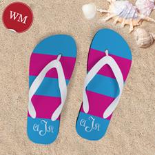 Pink Blue Stripe Personalized Flip Flops, Women Medium