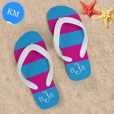 Pink Blue Stripe Personalized Flip Flops, Kids Medium