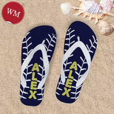 Navy Baseball Personalized Flip Flops, Women Medium