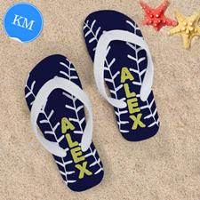 Navy Baseball Personalized Flip Flops, Kids Medium