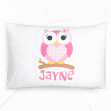 Pink Owl Personalized Name Pillowcase For Kids