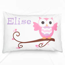 Pink Owl Personalized Pillowcase