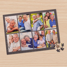 Personalized Dark Grey 8 Collage 12X16.5 Photo Puzzle