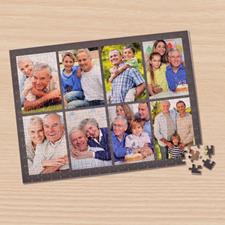 Personalized Dark Grey 8 Collage 12X16.5 Photo Puzzle