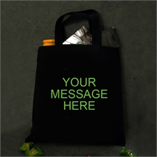 Custom Message Glow In The Dark Cotton Tote Bag