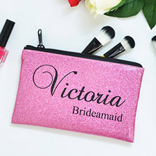 Real Glitter Hot Pink Personalized Cosmetic Bag For Bridesmaids, 3.5X6
