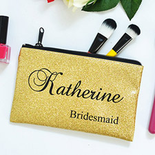 Real Glitter Gold Personalized Cosmetic Bag For Bridesmaids, 11X14