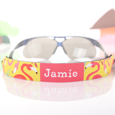 Yellow And Pink Flamingo Personalized Sunglass Strap