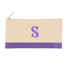 2 Tone Purple Personalized Embroidered One Initial Small (Single Side) Cosmetic Bag