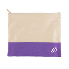 Embroidered Name Natural Makeup Bag, Purple