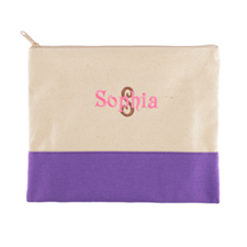 Name & Initial Personalized Purple Makeup Case