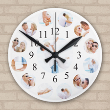Twelve Photo Collage Personalized Frameless Large Round Clock, 10.75
