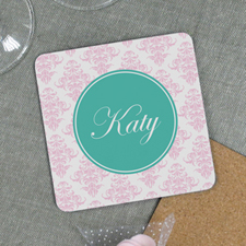Peacock Pink Personalized Cork Coaster