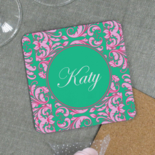 Green Pink Personalized Cork Coaster