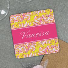 Yellow Pink Personalized Cork Coaster