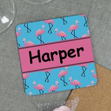 Flamingo Personalized Cork Coaster